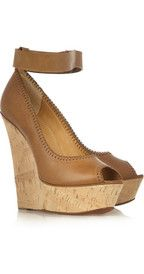 Lanvin  Tiered leather and cork wedge sandals  $1,545.00   Lanvin