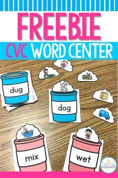 CVC Words Center: Hot Chocolate CVC Words Match This free cvc word center is perfect for winter literacy centers in kindergarten or grade! Kindergarten Centers, Kindergarten Reading, Teaching Reading, Teaching Ideas, Kindergarten Freebies, Guided Reading, Learning Resources, Phonics Activities, Work Activities