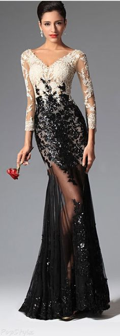 online shopping for eDressit Sexy V-cut Sequin Lace Sleeves Evening Prom Ball Gown from top store. See new offer for eDressit Sexy V-cut Sequin Lace Sleeves Evening Prom Ball Gown Evening Dress Long, Evening Gowns With Sleeves, Evening Dresses, Prom Dresses, Long Dresses, Dress Prom, Dresses 2016, Wedding Dresses, Evening Party