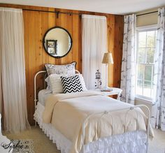 Sophia's: Budget Bedroom Makeover for a Rental Home wood paneling works well with black and white
