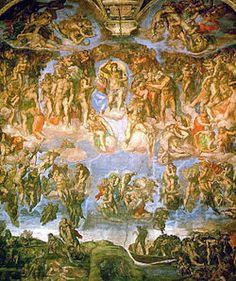 O Juízo Final, Capela Sistina por Michelangelo. Arte sacra – Wikipédia.