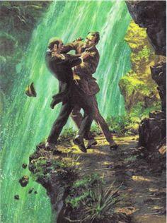Sherlock Holmes vs. the evil Professor Moriarty atop the Reichanbach Falls.