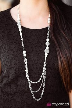 $5 Enmeshed In Elegance - White and Silver Multi Strand Necklace and Earring Set.