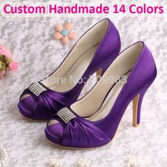 Purple wedding shoes with pink