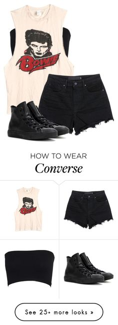 """""""heroes//david bowie//rest in peace"""" by bands-are-my-savior on Polyvore featuring MadeWorn, T By Alexander Wang and Converse"""