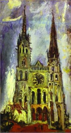 """Chartres Cathedral"", from the expressionist artist Chaim Soutine, 1934 Classic Paintings, Paintings I Love, Oil Paintings, Expressionist Artists, Abstract Expressionism, Maurice Utrillo, Arte Judaica, Chaim Soutine, Jewish Art"