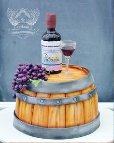 Skill level: Intermediate Learn how to make this wine lovers dream cake including a real sugar botle, wine glass, realistic grapes and customizable edible label, all atop a super realistic wine barrel cake! Wine Theme Cakes, Themed Cakes, Wine Cakes, How To Stack Cakes, Fancy Cakes, Wine Bottle Cake, Glass Bottle, Wine Glass, Artisan Cake Company