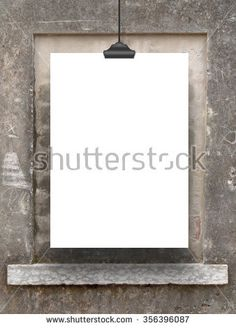 Close-up of one hanged paper sheet frame on weathered walled up window and wall background