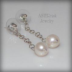Earrings  Pearl Sterling Silver Dangle by asterrisk on Etsy, $25.00