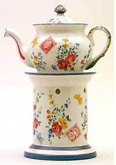 """Teapot #438  Conventional, white, blue lines on stand and pot, floral designs and Swiss, Denmark, Italian   and German postage stamps. Richard Genori -- """"Valentino Brosio""""."""
