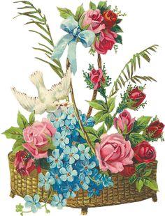 MEDIUM  609px × 800px (scaled to 486px × 640px)       Glanzbilder - Victorian Die Cut - Victorian Scrap - Tube Victorienne - Glansbilleder - Plaatjes : Blumenkörbe mit Tauben - flower baskets with doves - fleurs panier avec des colombes