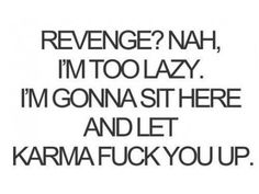 Just remember to stay pure in thought or Karma will find you as well. Karma doesn't revenge people or acts, Karma keeps the universe in balance. Great Quotes, Quotes To Live By, Me Quotes, Funny Quotes, Inspirational Quotes, Revenge Quotes, Funny Phrases, Revenge Funny, Lazy Quotes