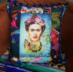 Frida Kahlo Patchwork Designer Pillow with by RanchoRomantico