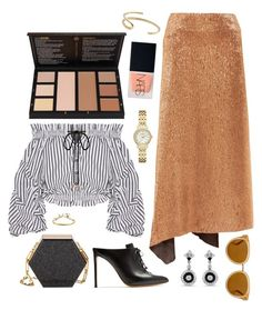 """""""Lurex + Stripes"""" by cherieaustin ❤ liked on Polyvore featuring Kate Spade, Francesco Russo, Jil Sander, Edie Parker, Caroline Constas, NARS Cosmetics, WWAKE, Fay Andrada and Draper James"""