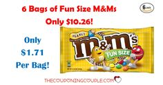 WOW! Get 6 M&Ms Fun Size Bags for only 10.26! That is only $1.71 per bag! Great for treats or movie nights!  Click the link below to get all of the details ► http://www.thecouponingcouple.com/mms-fun-size-peanut-bags-10-26-for-6-bags/ #Coupons #Couponing #CouponCommunity  Visit us at http://www.thecouponingcouple.com for more great posts!