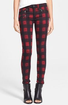 rag & bone/JEAN Zip Detail Print Denim Leggings (Red Buffalo) | Nordstrom