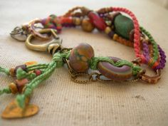 Boho Vintage Hearts Beadwork Bracelet Beaded by BlueQuailDesign, $56.00