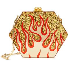 Edie Parker Macy Flames Gold Glittered Box Clutch ($1,990) ❤ liked on Polyvore featuring bags, handbags, clutches, hard clutch, chain strap purse, gold glitter purse, gold glitter handbag and gold purse