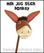Milk Jug Donkey Craft for Palm Sunday from www.daniellesplace.com