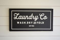 VINTAGE LAUNDRY CO, Painted wood sign - S,M,L Sizes available    Wall decor (Rustic Chic, Modern Farmhouse, Fixer Upper) Free Shipping