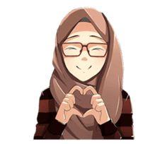 A sticker about beautiful women wearing a hijab. by Jaenal Arifin. Girl Cartoon, Cartoon Art, Feeling Pictures, Hijab Dp, Beautiful Hijab Girl, Hijab Drawing, Best Whatsapp Dp, Image Citation, Islamic Cartoon