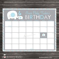 Elephant Guess the Due Date Calendar Printable by Blue and Gray Boy Baby Shower Game stockberrystudio