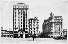 Praça da Sé, na década de 1920. Ao fundo a Rua Benjamin Constant. À esquerda da rua o Edifício Gazeau e à direita o Palacete São Paulo.