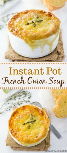 Instant Pot French Onion Soup This instant pot french onion soup features perfectly caramelized onions in a rich, dark broth topped with a toasted baguette and hot and bubbly Gruyere cheese. Of all of the recipes I've set ou. Instant Pot Pressure Cooker, Pressure Cooker Recipes, Pressure Cooking, Slow Cooker, Gourmet Recipes, Cooking Recipes, Thm Recipes, Chili Recipes, Cheese Recipes