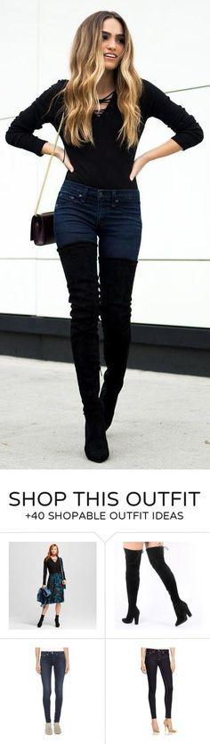 f09a89baea08 #winter #fashion / Black Top / Navy Skinny Jeans / Black OTK Boots (