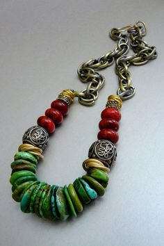 Natural turquoise heshi beads and large, brushed gold knots.