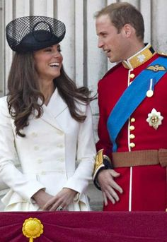 Prince William gives Kate Middleton the giggles at Trooping The Colour