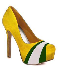 Look what I found on #zulily! Yellow & Green Suede Pump - Women #zulilyfinds