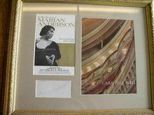 """Marian Anderson Autograph professionally framed with complete Carnegie Hall and Farewell Tour Programs. Frame measures 17.75"""" X 22.25"""" $595"""