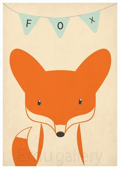Retro poster  fox vixen forest animals  vintage by EmuDesigns, $19.00