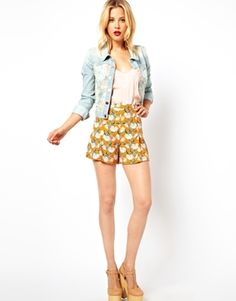 Image 1 ofASOS Art Deco Floral Shorts