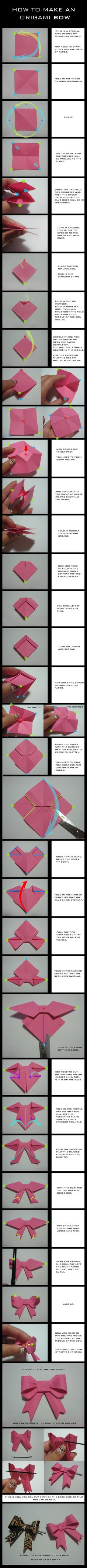TUTORIAL: Origami Bow by ~DarkUmah on deviantART