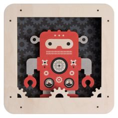 Fun and Funky ROBOT 3D Wall Decor Birch Wood Shadowbox for Children's Room by Modern Moose~Made in USA >>> Check out this great product. (This is an affiliate link) #KidsRoomDecor