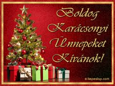 Karácsonyi képeslap, Boldog Karácsonyi Ünnepeket felirattal, karácsonyfával és ajándékokkal. Christmas And New Year, Christmas Cards, Merry Christmas, Xmas, Christmas Ornaments, Happy New Year 2020, Greeting Cards, Holiday Decor, Home Decor