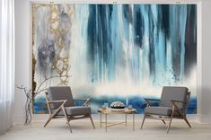 """The """"Waterfall"""" Wall Mural is composed using a blend of vibrant blues, teals, navy, and white, sand, beige and gold for an intense nautical feature wall. This is an original Blueberry Glitter that has been converted into a large scale wall mural. Create a one of a kind look by applying the complimentary gold leaf kit onto the wallpaper for glam accent wall. Each mural comes in multiple sections that are approximately 24"""" wide each. Blue Abstract, Abstract Watercolor, Abstract Wall Art, Large Wall Murals, Removable Wall Murals, Peel And Stick Wallpaper, Wall Wallpaper, Prepasted Wallpaper, Wall Decals"""