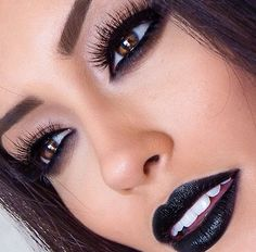 Neutral Eye Makeup - Black Smokey Lower Lash Line - Black Lips - I LOVE THIS ❤︎ Never seen black lipstick look so good on someone :)