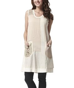 Look at this Simply Couture Beige Floral Pocket Tunic on #zulily today!