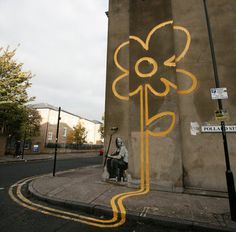 Banksy - Yellow flower