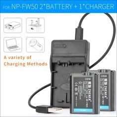 2PCS NP-FW50 Camera Battery Digital Batteries+NP FW50 Charger For Sony ILCE-A7M2 ILCE-7 ILCE-7R SLT-A33 SLT-A37 SLT-A35 SLT-A55 #Affiliate
