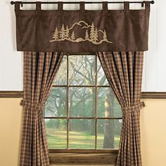 Ugh Too Bad We Already Got Curtains Mountain Forest Brown Valance