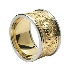 In battle the ancient Celtic warrior's only defense was his shield. The Celtic warrior had many superstitions and would adorn their shields according Irish Wedding Rings, Celtic Wedding Bands, Wide Wedding Bands, White Gold Wedding Bands, Mens Celtic Rings, Gold Claddagh Ring, Warrior Ring, Celtic Shield, Fashion Rings