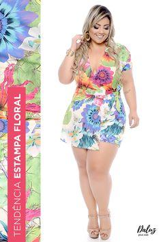 Macaquinho Plus Size Sabrit - Coleção Primavera - Verão 2018 Plus Size - daluzplussize.com.br