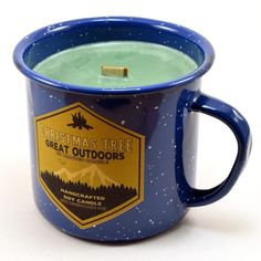 Buy Christmas Tree Wood Wick Soy Candle in an Enamel Camping Mug - 10 oz - and Find More Christmas Candles enjoy up to off. Christmas Tree Scent, Fresh Cut Christmas Trees, Christmas Candles, Christmas Time, Wood Wick Candles, Soy Candles, Camping For Beginners, Soy Wax Melts, Holiday Traditions