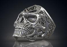 Handmade Masonic Freemason Skull .925 Sterlling Silver Biker Ring Band Jewelry