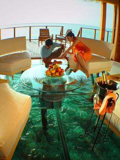bungalow au milieu de l'océan avec son parterre de verre aux Maldives