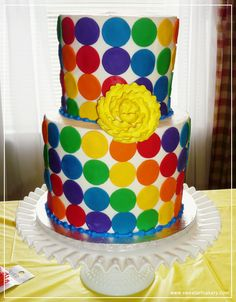 Polka-dot-rainbow-cake. Reminds me of the 70s. When I still considered rainbows merely colorful meteorological inspiration...